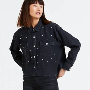 Just In NWT Levi's Rhinestone Black Jacket / Shirt